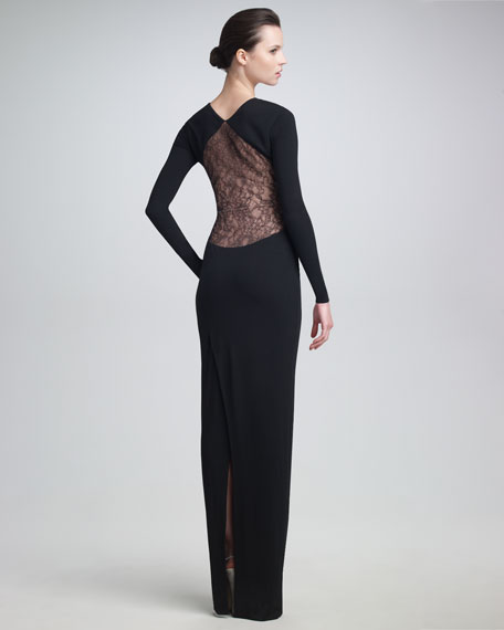 Lace-Inset Long-Sleeve Gown