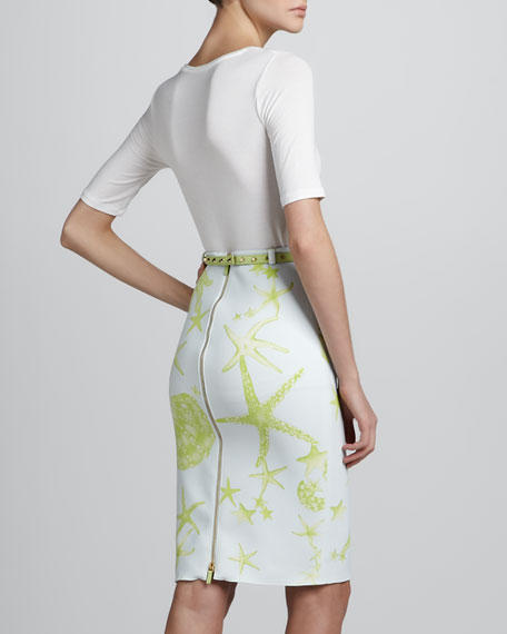 Sea-Print Pencil Skirt