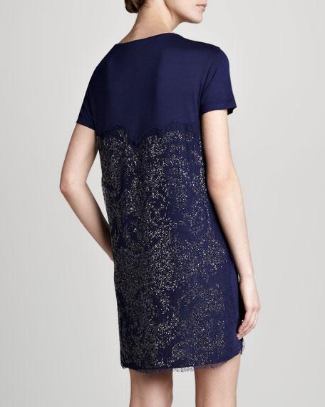 Printed T-Shirt Dress, Navy