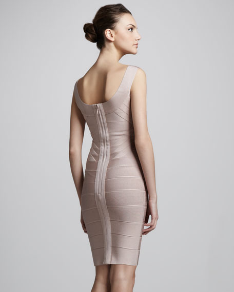 Wide-Scoop Neck Bandage Dress