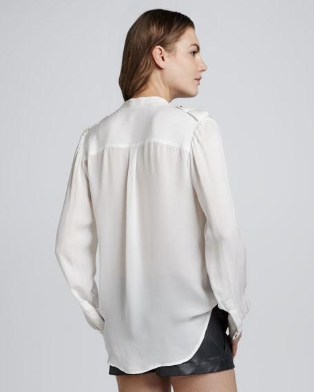 Long-Sleeve Epaulet Blouse