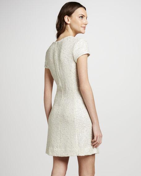 Shimmer Tweed Cap-Sleeve Dress
