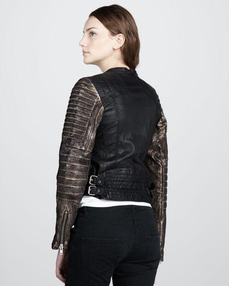 Metallic-Sleeve Leather Jacket