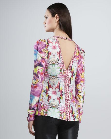 Puff-Sleeve Print Blouse