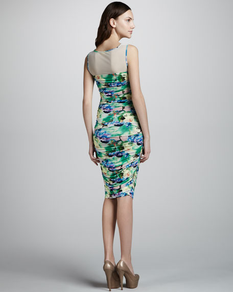 Mesh and Ruching Floral Dress