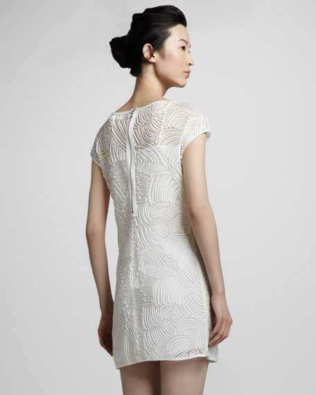Cap-Sleeve Nylon Fishnet Dress