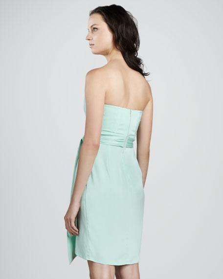 Strapless Charmeuse Mock-Wrap Dress