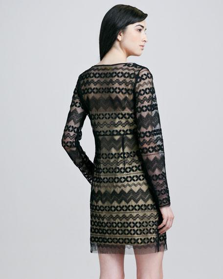 Long-Sleeve Tulle Dress