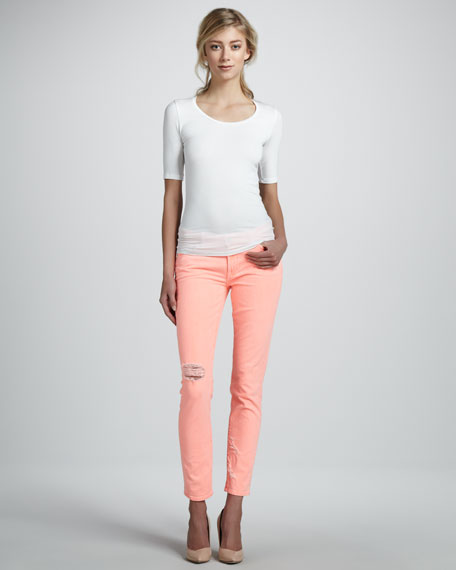 Distressed Cigarette Jeans, Coral