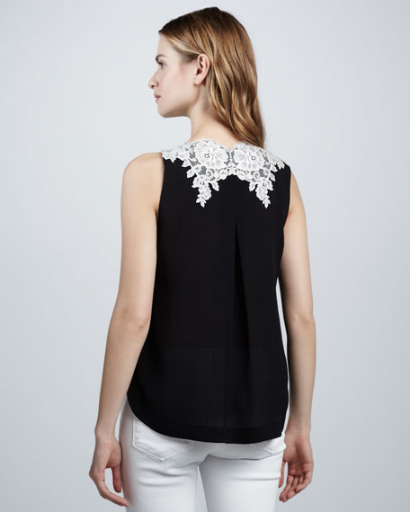 Lace-Applique Silk Top