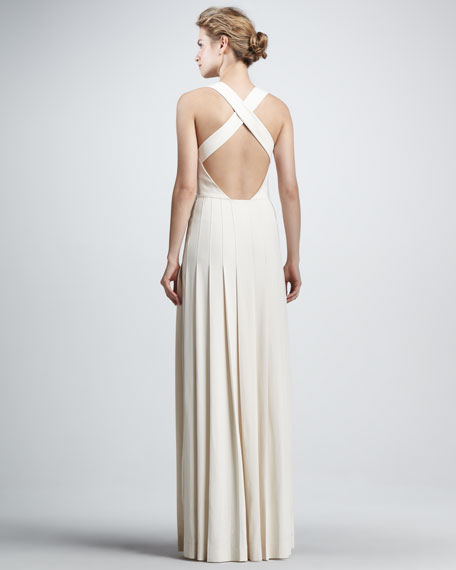 Techno Crepe Pleated Gown