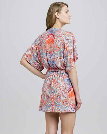 Palms-Print Kimono Wrap Dress, Coral/Multicolor
