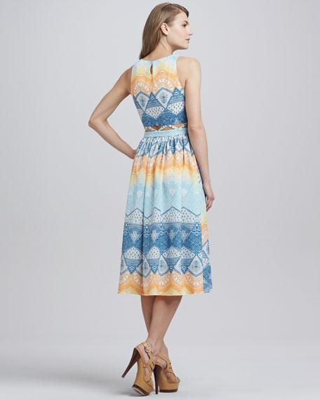 Open-Lattice-Waist Printed Dress, Ivory/Multicolor