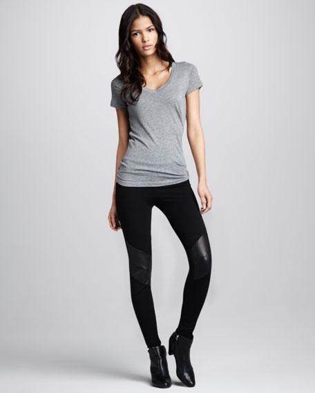 Leather-Knee Leggings