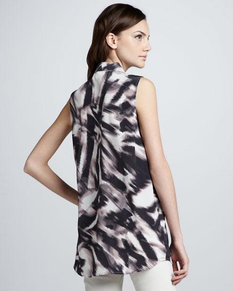 Graham & Spencer Zebra-Print Sleeveless Silk Blouse