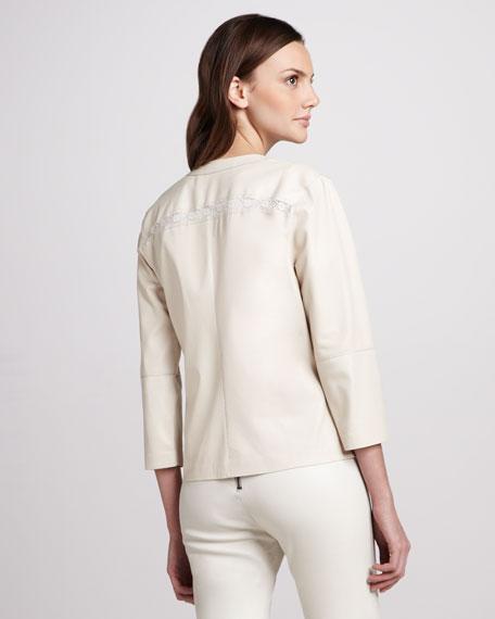 Lace-Panel Leather Jacket