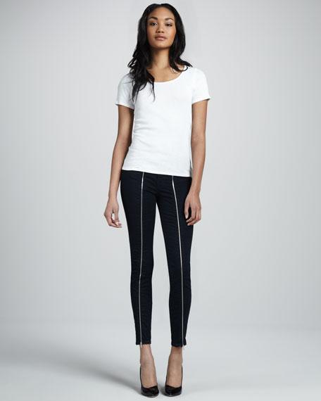 8511 Jewel Zip Blue Topaz Skinny Jeans