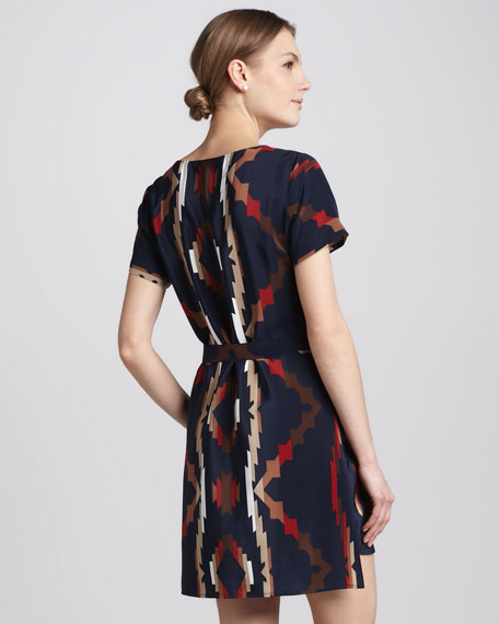 Tribal-Print Tie-Waist Dress