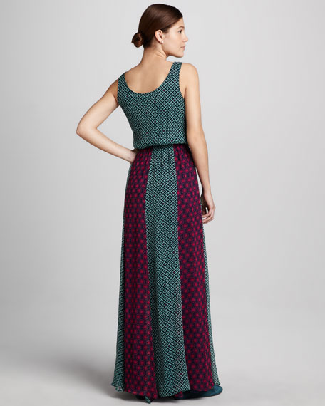 Tile-Print Maxi Dress