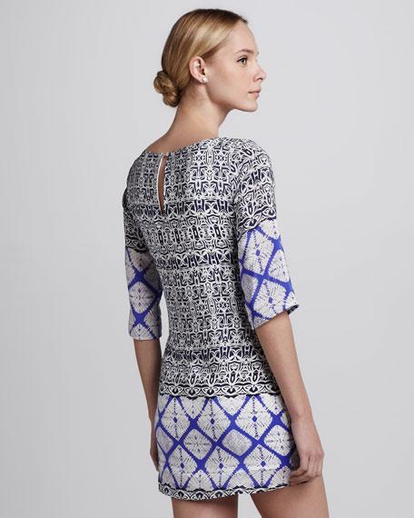 Mix-Print Silk Dress