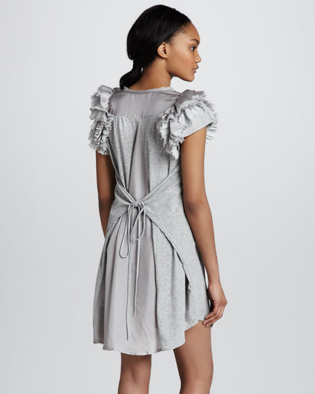 Short-Sleeve Ruffled-Shoulder Dress