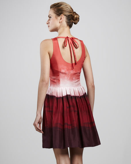 Georgia Ombre Taffeta Tie-Back Dress