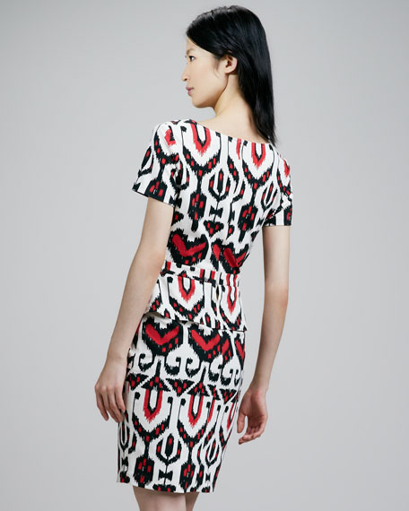 Tribal-Print Peplum Dress