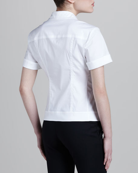 Notch-Collar Seamed Shirt, White