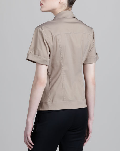 Notch-Collar Seamed Shirt, Khaki