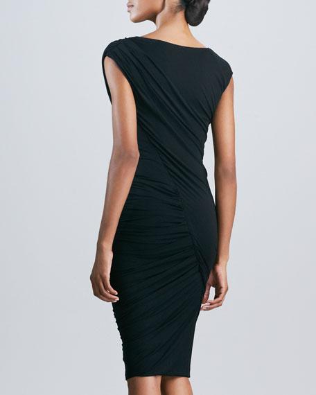 Draped Twist Dress, Black