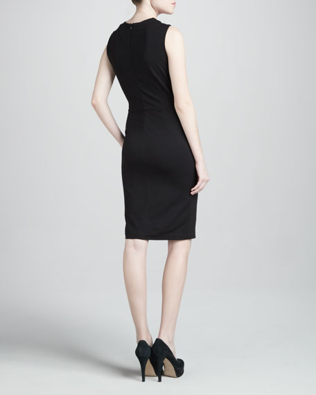 Colorblock Ponte Dress, Sable/Poppy