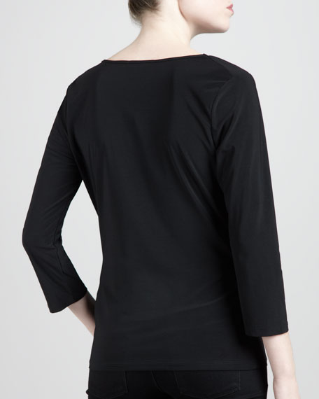 Three-Quarter Cowl Top, Black