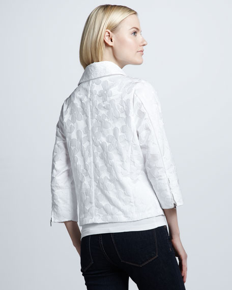 Flower-Detailed Flare Jacket