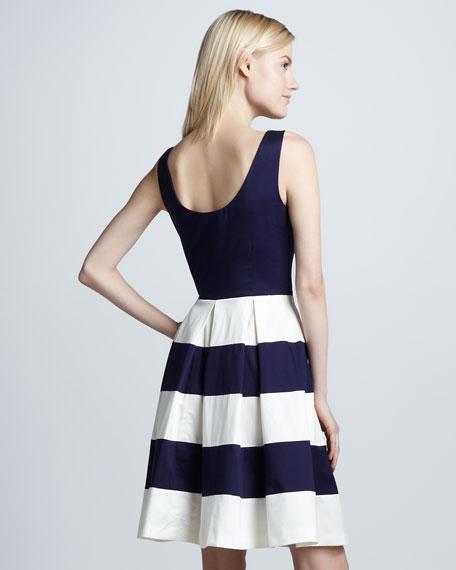 celina stripe-skirt dress, french navy