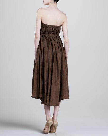 Strapless Silk Dress, Teak