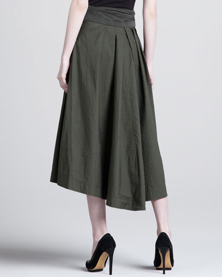 Jersey-Waist High-Low Skirt