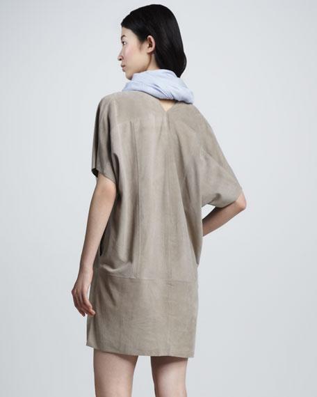 Suede V-Neck Dress