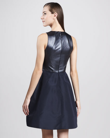 Leather-Strap Sleeveless Cocktail Dress