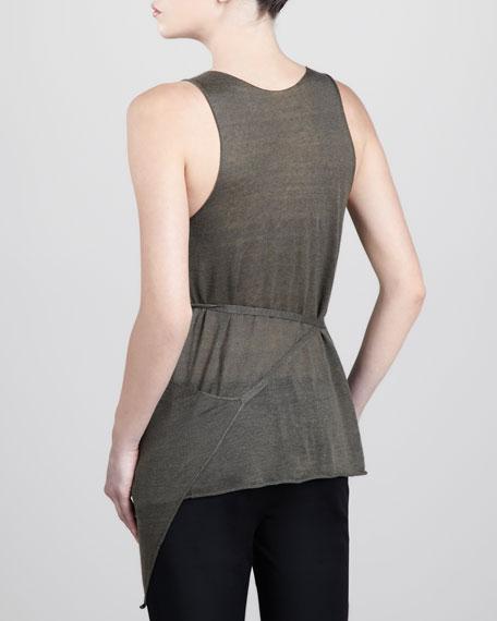 Sleeveless Linen-Cashmere Wrap Top