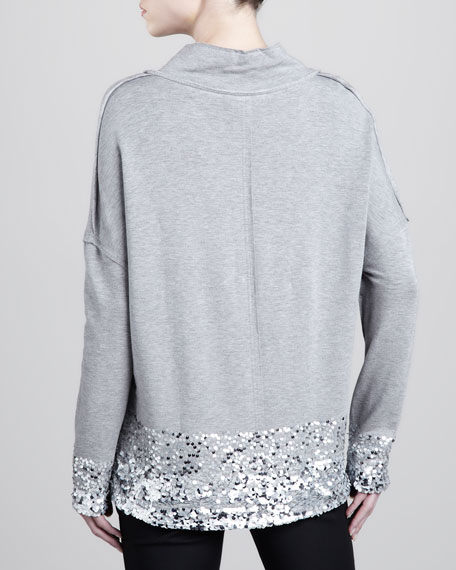 Sequined Shawl-Collar Pullover