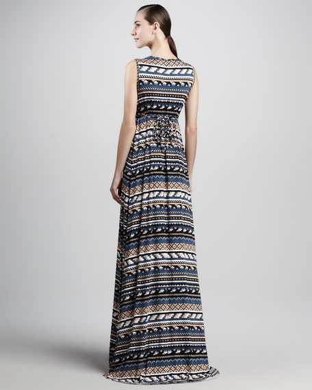 Long Folk-Print Caftan Dress, Women's
