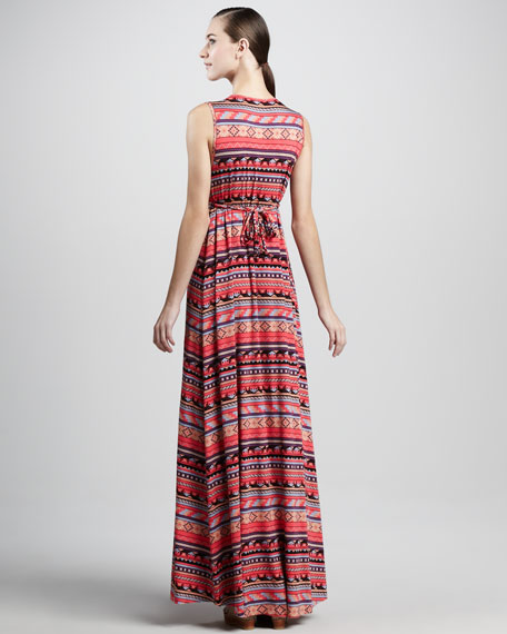 Long Granita Folk-Print Dress