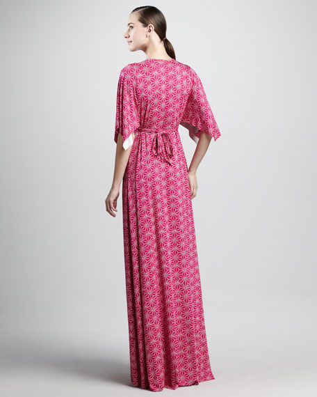 Starflower-Print Long Caftan Dress