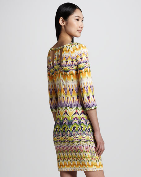 Ikat-Print Bateau Cutout-Back Dress