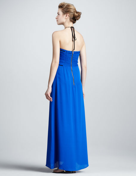 Contrast-Trim Maxi Dress