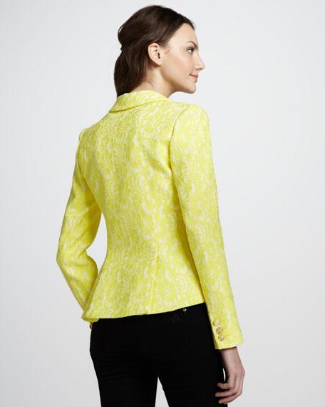 Lace Trimmed-Pocket Cutaway Blazer