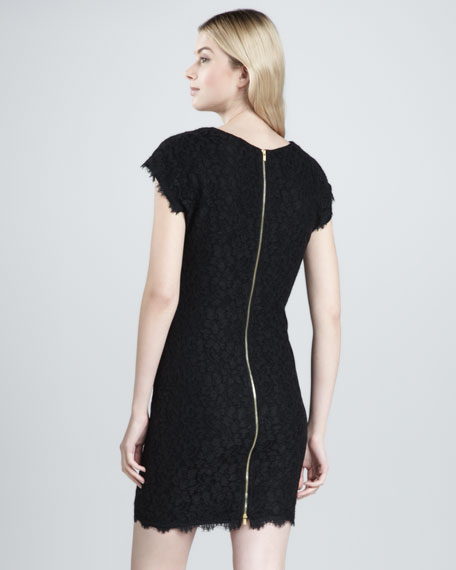 Wanda Short-Sleeve Lace Dress