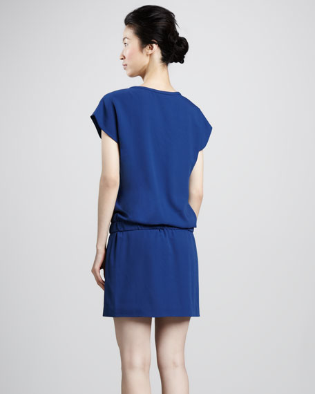 Tara Cap-Sleeve Drop-Waist Dress