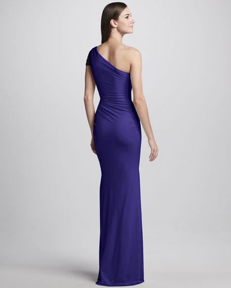 One-Shoulder High-Slit Ruched Gown