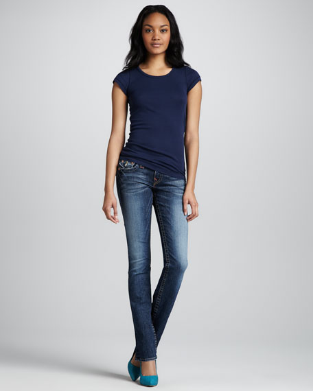 Billy Whiskey Blue Faded Flap-Pocket Jeans